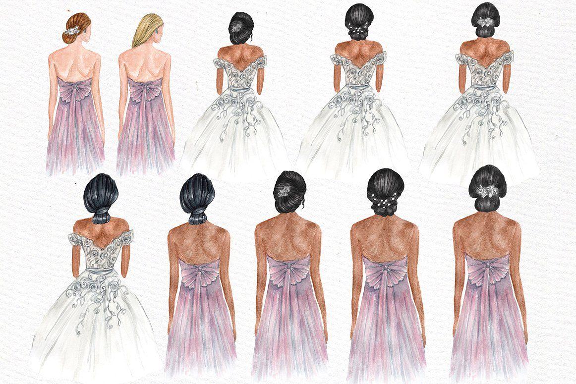 Bridesmaids clipart picture transparent stock Bride and Bridesmaids clipart #designs#wedding#Perfect#illustrations ... picture transparent stock