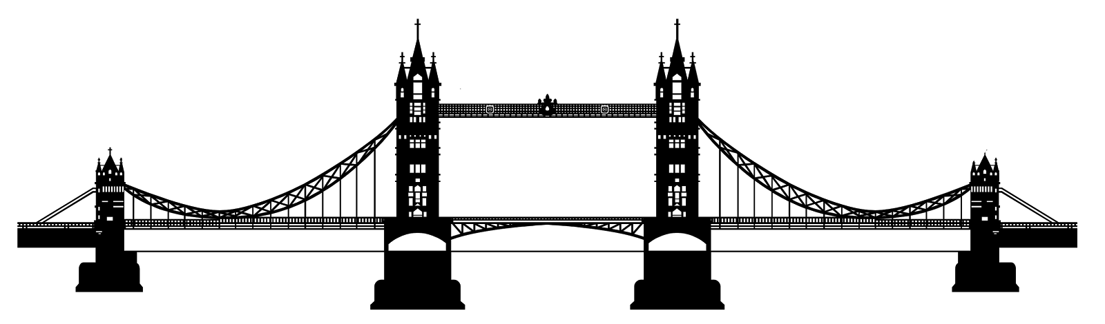 Tower of london clipart with translucent background vector black and white stock Tower Bridge Clipart transparent PNG - StickPNG vector black and white stock