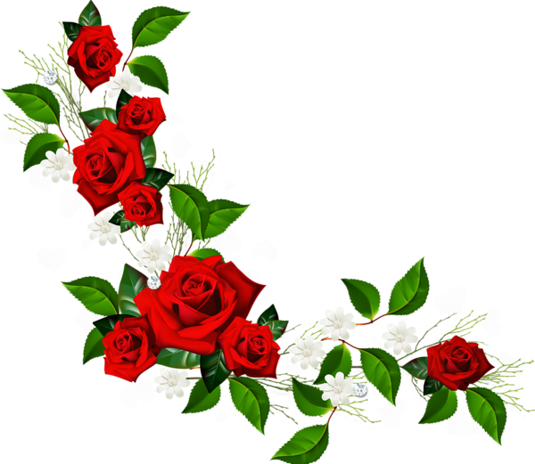 Flower with cross border clipart image freeuse stock Decorative Element with Red Roses White Flowers and Hearts with ... image freeuse stock