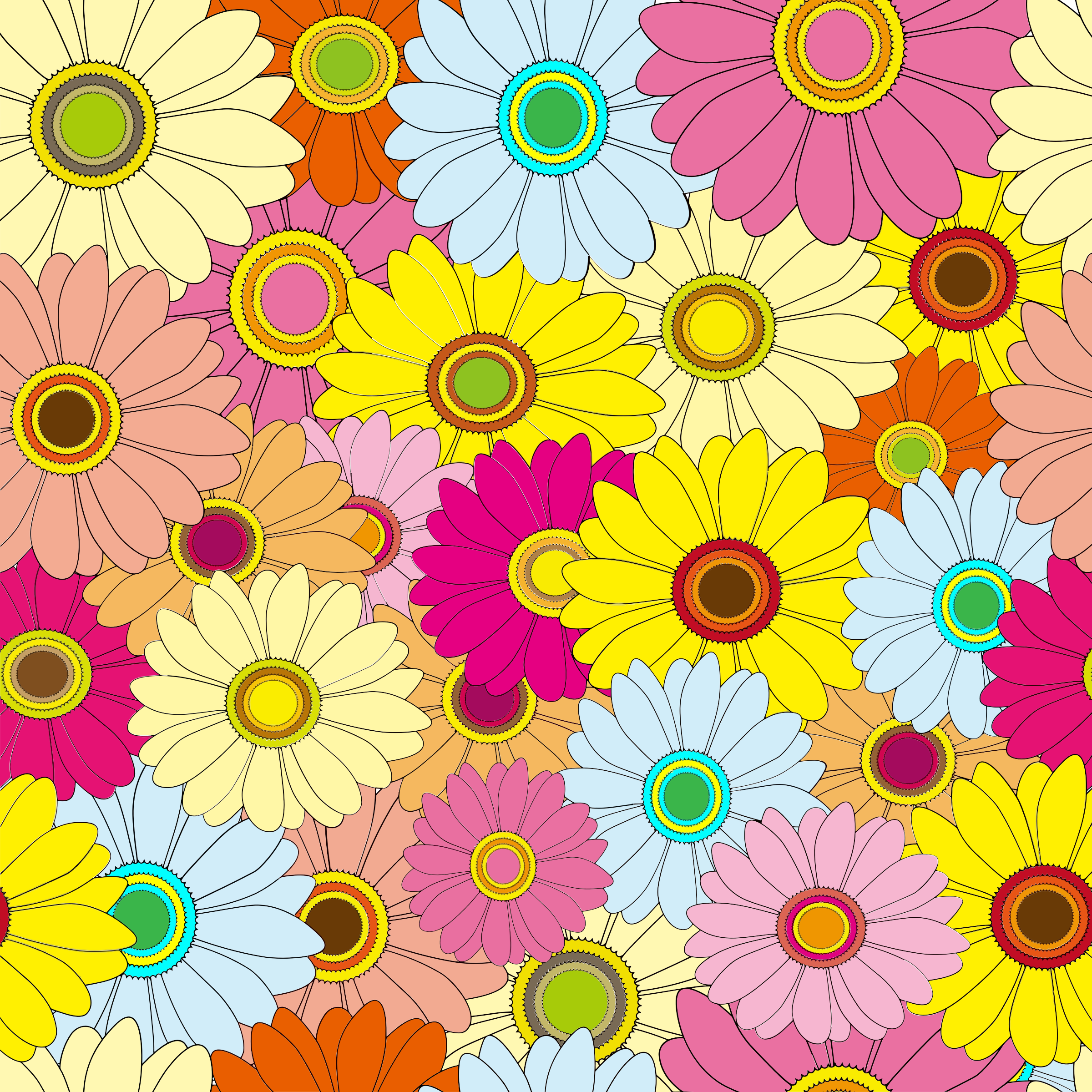 Flower clipart backgrounds clipart black and white stock Clipart - Bright Multicolored Floral Background clipart black and white stock