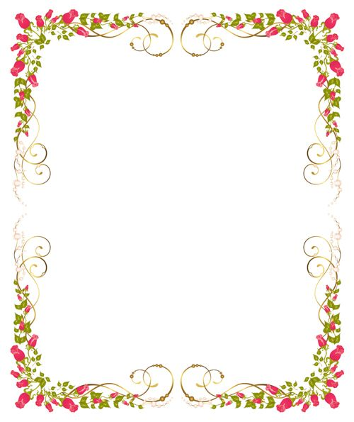 Bright flowers frame border clipart picture black and white stock Bright Rose background vector 04 | Vector background | Crafts ... picture black and white stock