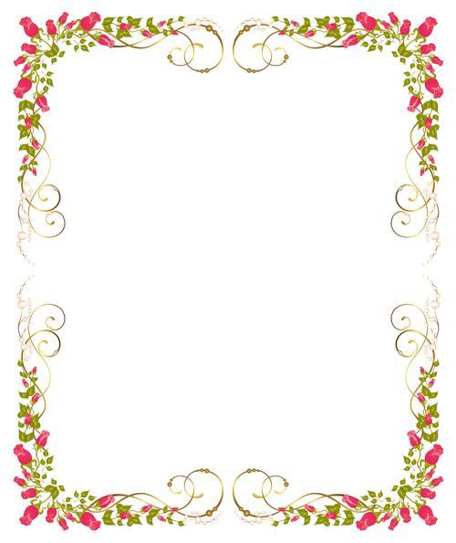 Bright flowers frame border clipart