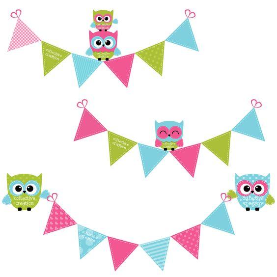 Bright pastel flag bunting clipart jpg download Cute Owls & Bunting Clipart in Bright Pink by CollectiveCreation ... jpg download