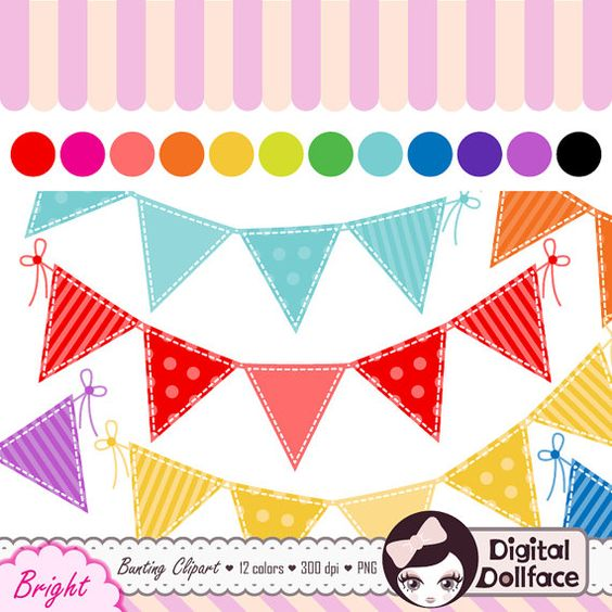 Bright pastel flag bunting clipart picture freeuse stock Digital Bunting Clipart, Flag Banner Clip Art, Colorful Garland ... picture freeuse stock