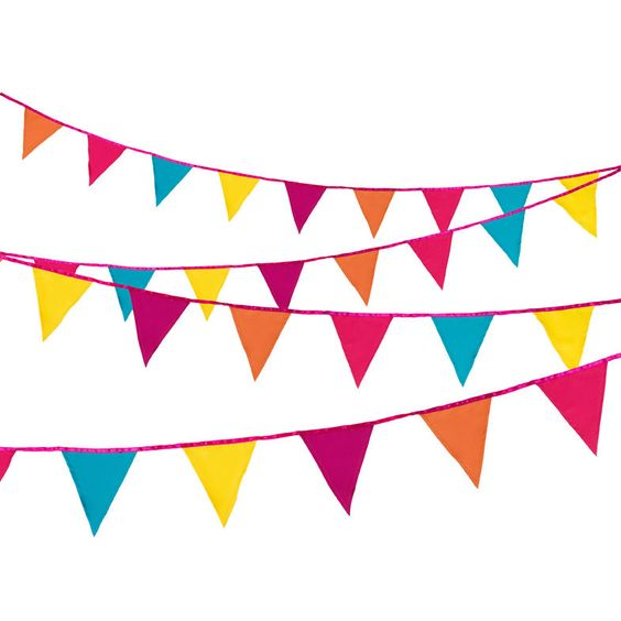 Bright pastel flag bunting clipart clip black and white 3 Metre Party Bunting Multi Colour Tropical Fabric Pennant Flag ... clip black and white