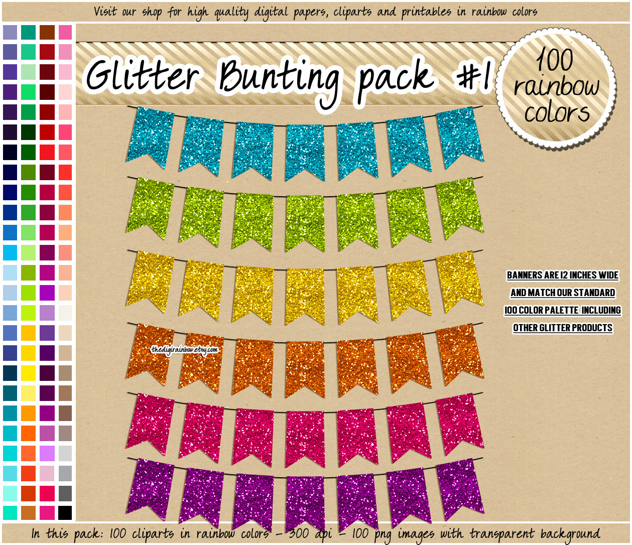 Bright pastel flag bunting clipart banner royalty free SALE 100 glitter bunting clipart flag clipart by TheDigiRainbow banner royalty free