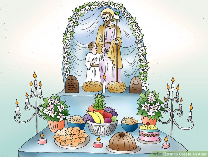 Bringing can goods to the altar clipart clip black and white stock 4 Ways to Create an Altar - wikiHow clip black and white stock