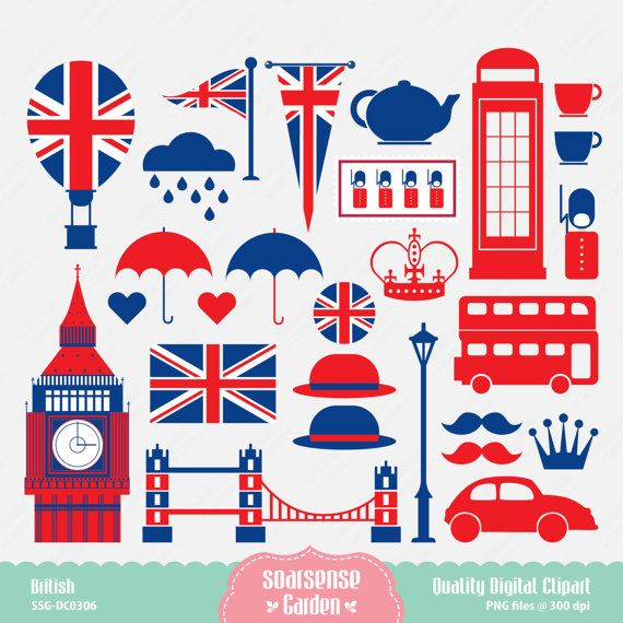 Britigh clipart clip freeuse library British Digital Clipart London Clipart England Clipart by SSGARDEN ... clip freeuse library