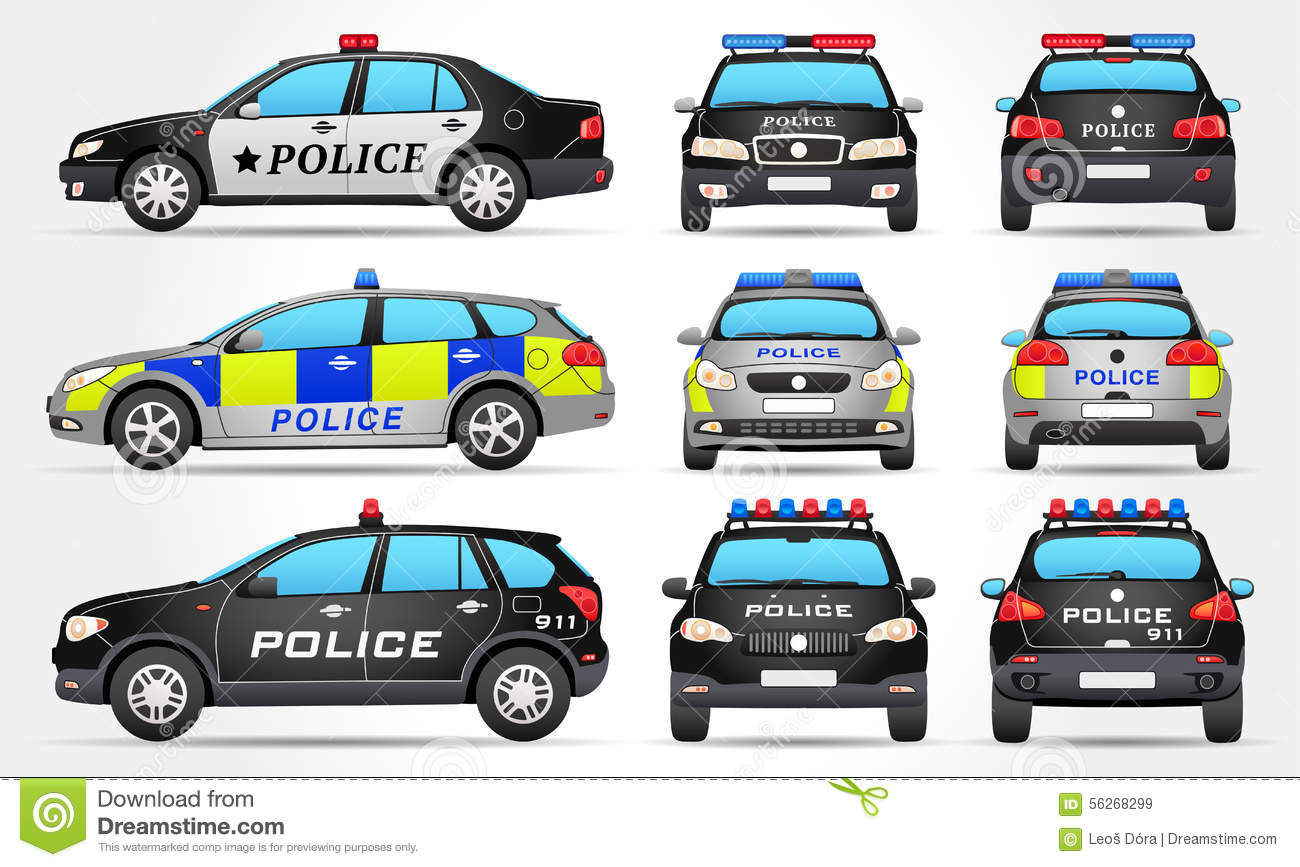 Front and side view. British police car clipart
