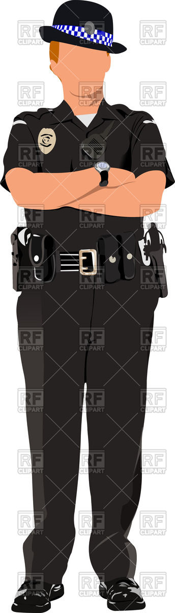 Woman in british police uniform with hands crossed on chest Vector ... clip art stock