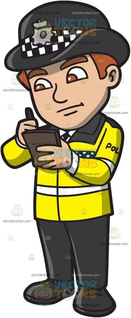 A British Male Traffic Police Officer Issuing A Ticket Cartoon Clipart jpg freeuse stock