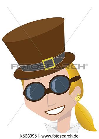Bro frau clipart svg free download Clipart - lächeln, Steampunk, frau, tragen, bro k5339951 - Suche ... svg free download