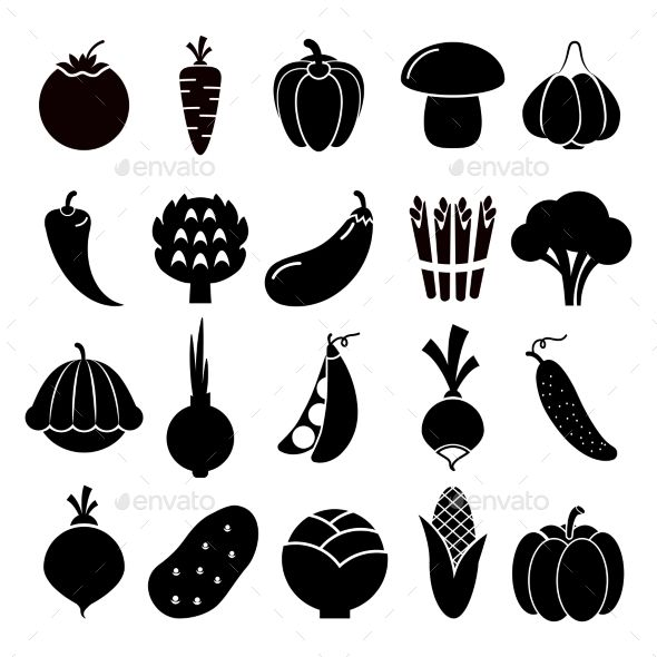 Brocc silhouette clipart svg freeuse stock Vegetables Silhouettes (Vector EPS, CS, asparagus, background, beet ... svg freeuse stock