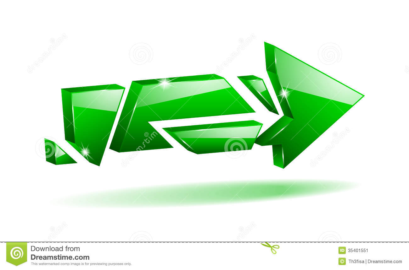 Broken arrow clip art.  d green stock