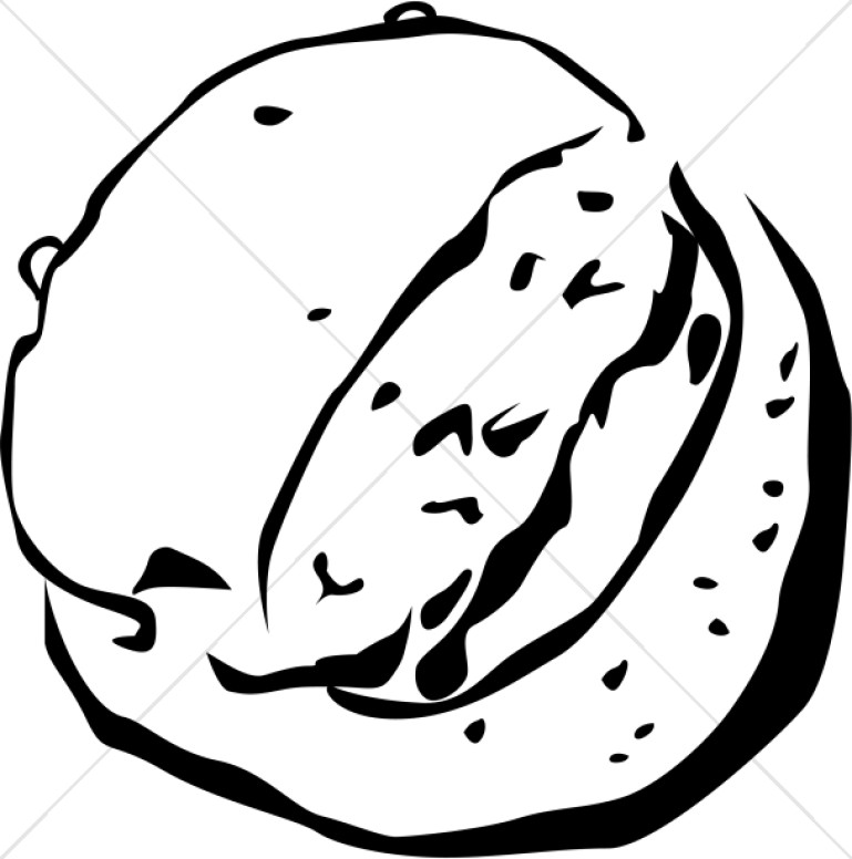 Broken bread clipart png black and white library Black and White Broken Bread on Platter | Communion Clipart png black and white library
