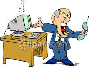 Broken computer clipart free graphic library stock Businessman Yelling Into Telephone About His Broken Computer ... graphic library stock