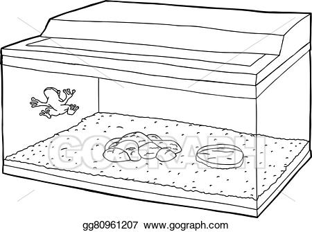 Broken fish tank clipart black and white vector freeuse stock Clip Art Vector - Outline of frog in fish tank. Stock EPS gg80961207 ... vector freeuse stock