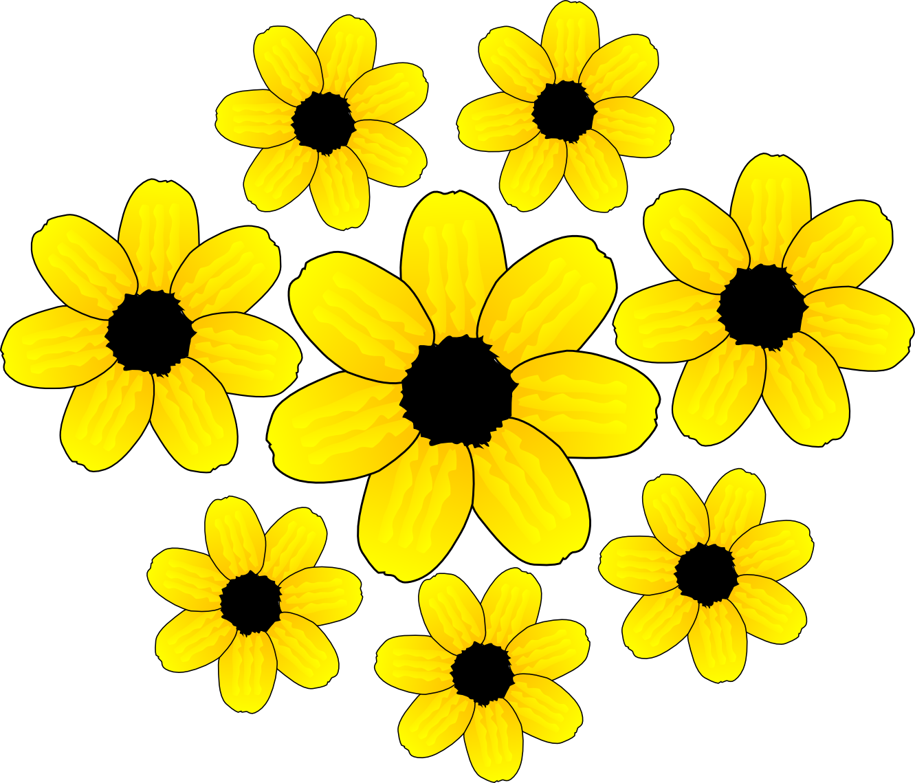 Yellow clipart flower clip art black and white Flowers flower clipart flower accents flower graphics the 3 ... clip art black and white