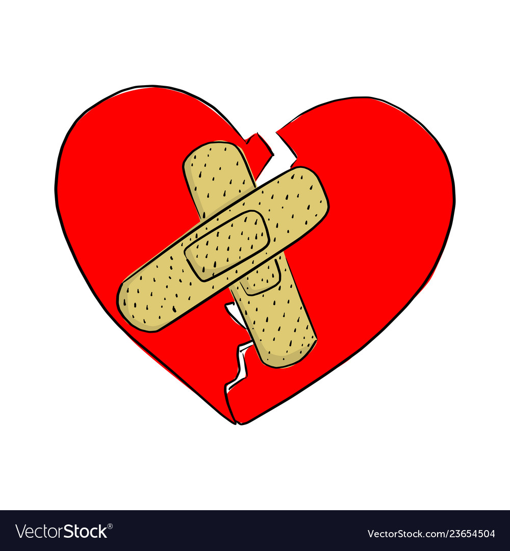 Broken heart with bandage clipart image free library Broken heart with bandage sketch image free library