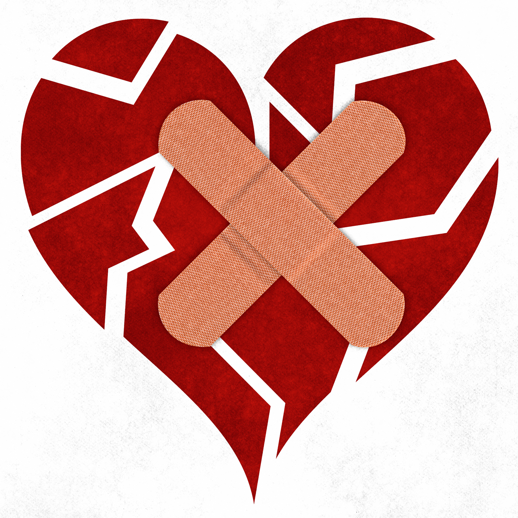 Broken heart with bandaid clipart image black and white library Broken heart Takotsubo cardiomyopathy Healing - Scarred heart 1800 ... image black and white library