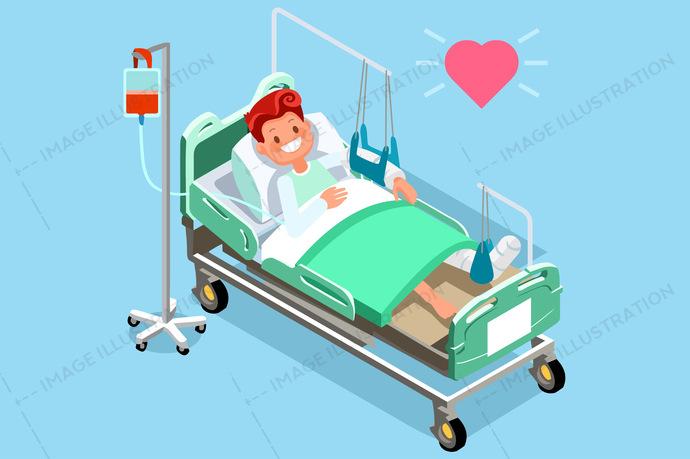 Broken leg rehab clipart clip royalty free Patient Leg Broken Fracture Rehabilitation Medical Vector clip royalty free