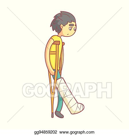 Broken leg rehab clipart vector black and white download Vector Clipart - Unhappy young man with dark hair on crutches with ... vector black and white download
