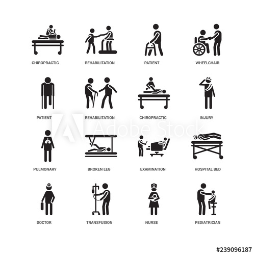 Broken leg rehab clipart png free stock Simple Set of 16 Vector Icon. Contains such Icons as Pediatrician ... png free stock