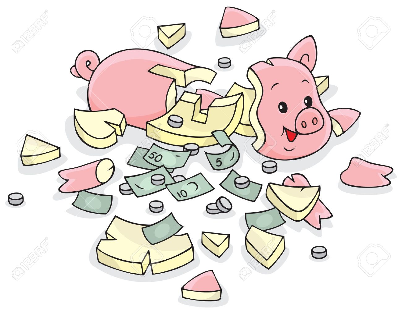 Broken piggy bank clipart - ClipartFest royalty free library