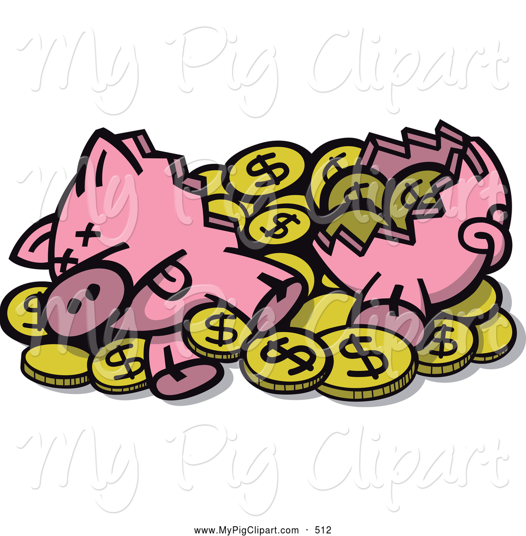 Broken piggy bank clipart - ClipartFest clipart library stock
