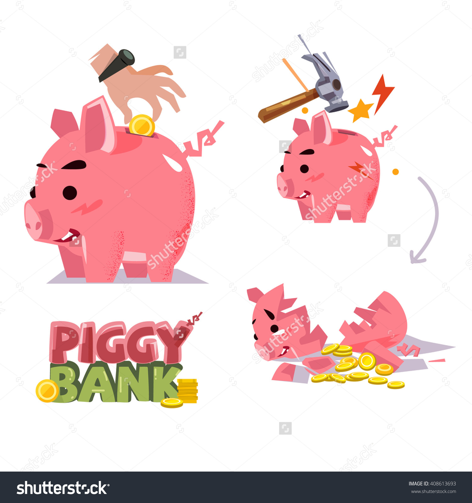 Broken piggy bank clipart father banner transparent stock Piggy Bank Various Action Inserting Coin Stock Vector 408613693 ... banner transparent stock