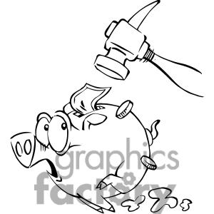Black and white clipartfox. Broken piggy bank clipart father free