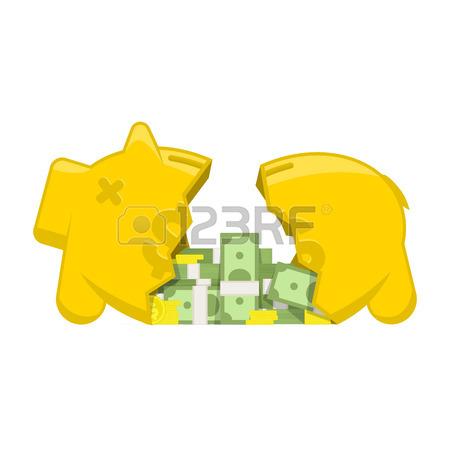 Broken piggy bank clipart father free image free Vector Illustration Broken Piggy Bank. Flat Vector Illustration ... image free
