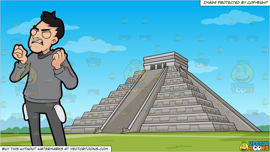 Broken temple clipart graphic royalty free download A Frustrated Broke Man and Temple Of Kukulcan Mayan Pyramid Background graphic royalty free download