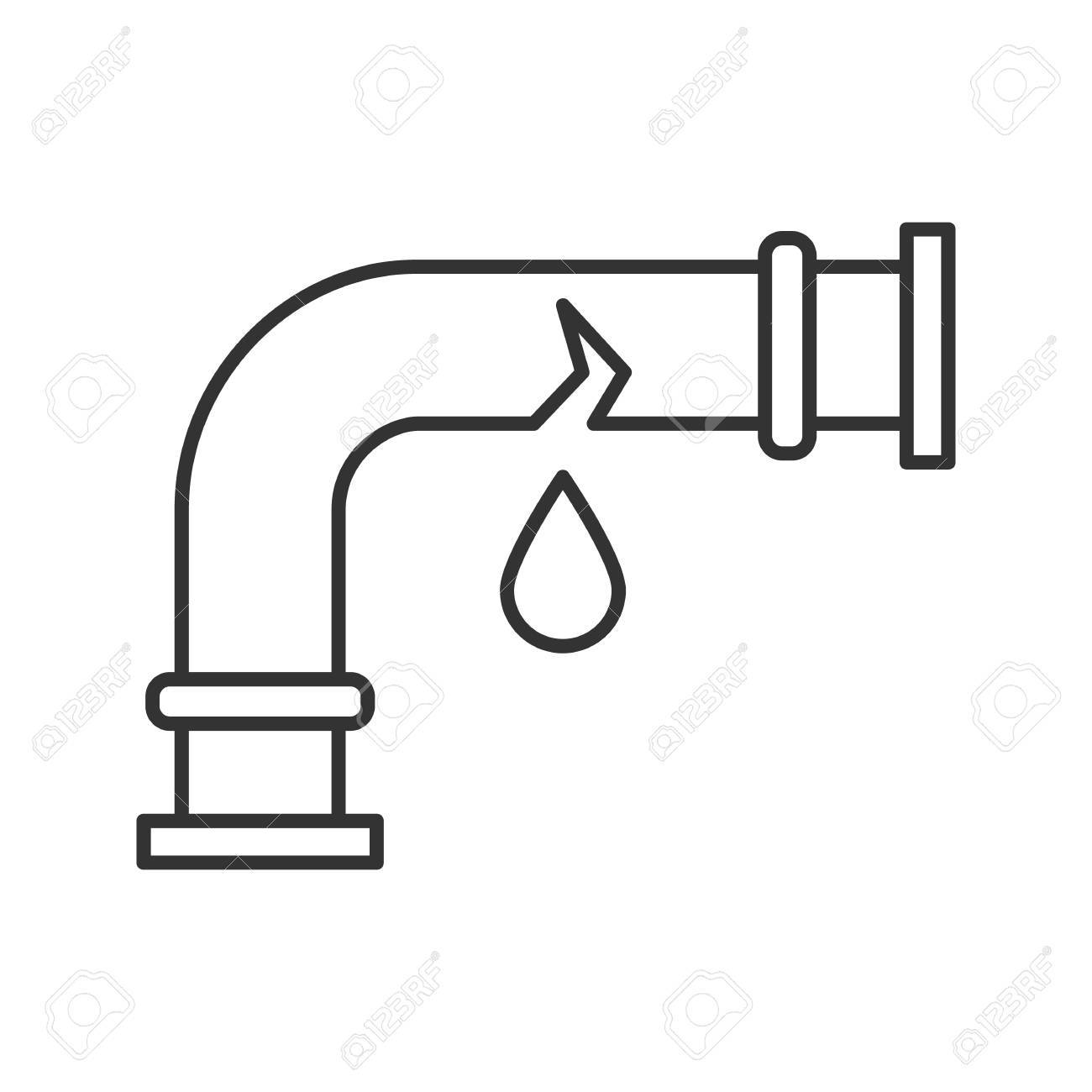 Broken water pipe clipart clip transparent library Broken water pipe linear icon » Clipart Portal clip transparent library