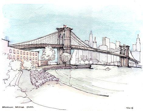 Brooklyn bridge park clipart image royalty free stock Drawing of Brooklyn Bridge over river | Architecture posters in 2019 ... image royalty free stock