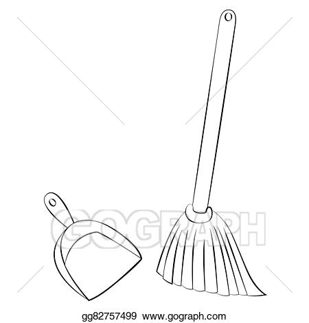 Broom and dustpan clipart black and white picture freeuse library Vector Art - Broom & dustpan. EPS clipart gg82757499 - GoGraph picture freeuse library