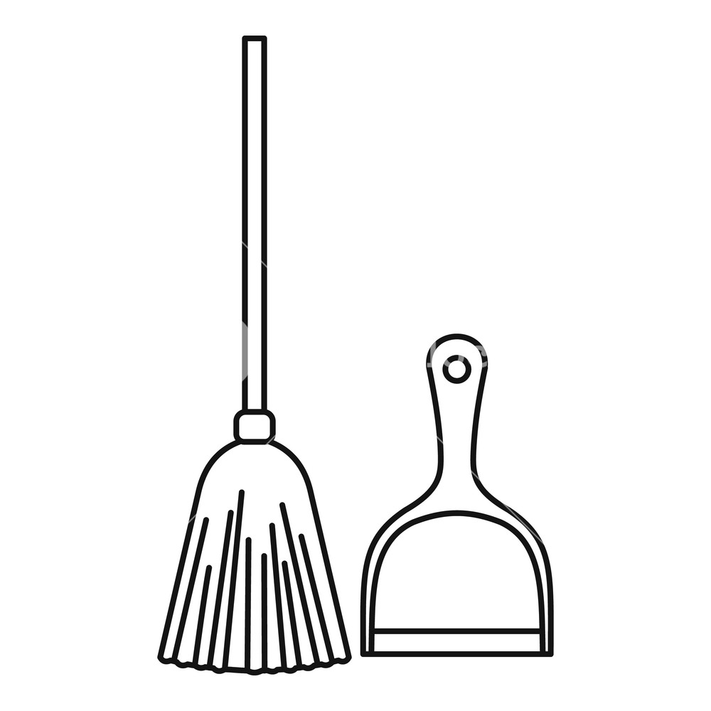 Broom and dustpan clipart black and white banner freeuse stock Broom and dustpan icon. Outline illustration of broom and dustpan ... banner freeuse stock