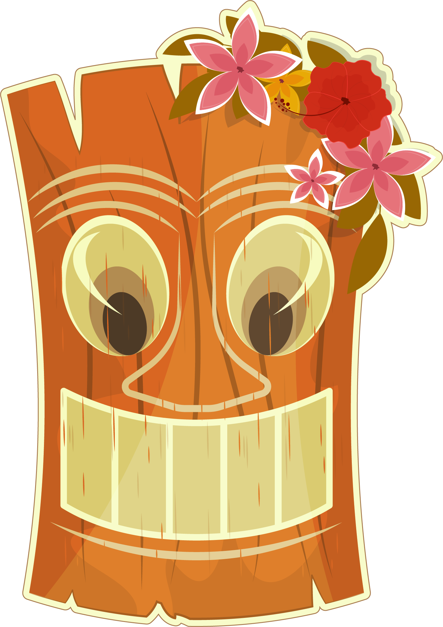 Brown apple clipart clip black and white download Hawaii Tiki bar Clip art - Hand painted brown mask 1501*2125 ... clip black and white download