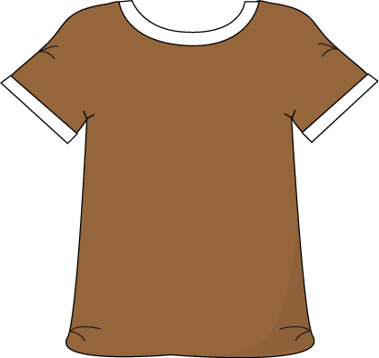 Brown color cartoon clipart picture transparent Brown Tshirt with a White Collar with a White Collar | Printable ... picture transparent