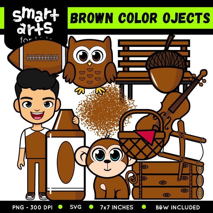Brown color cartoon clipart clipart transparent stock Brown Color Objects Clip Art clipart transparent stock