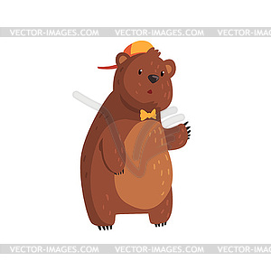 Brown color cartoon clipart svg free download Teen bear standing . Cartoon character with brown - color vector clipart svg free download