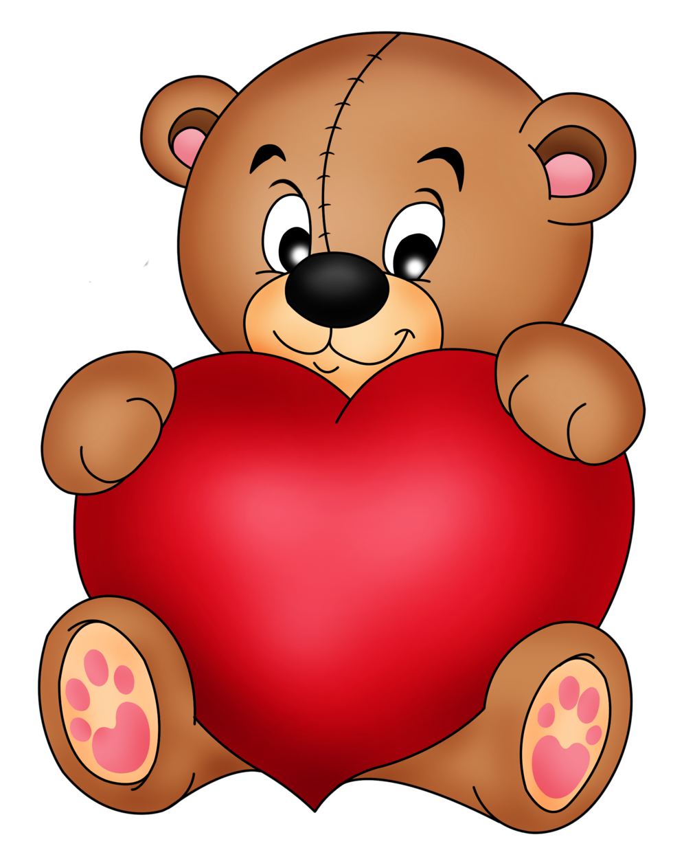 Brown heart clipart clip art black and white download Brown Teddy With Red Heart PNG Clipart clip art black and white download