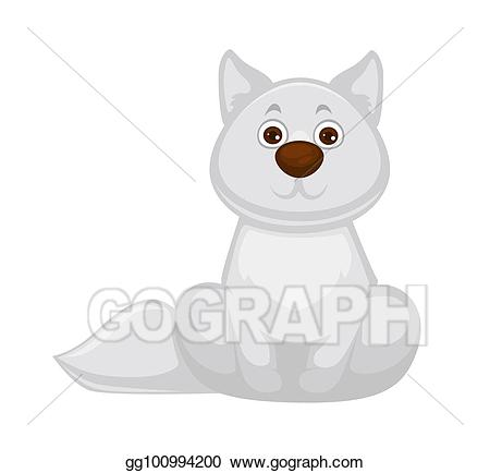 Brown nose clipart picture freeuse library Vector Stock - Adorable white fox baby with big brown nose. Clipart ... picture freeuse library
