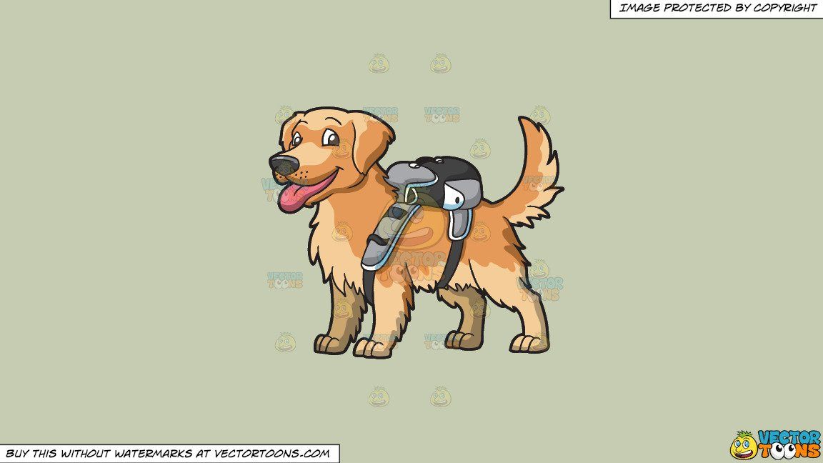 Brown puppy clipart jpg royalty free library Clipart: An Adorable Golden Brown Puppy Carrying A Backpack on a Solid Pale  Silver C6Ccb2 Background jpg royalty free library