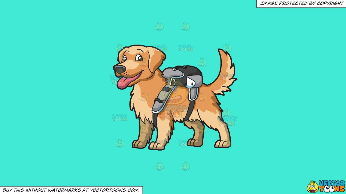Brown puppy clipart clip art freeuse Clipart: An Adorable Golden Brown Puppy Carrying A Backpack on a Solid  Turquiose 41Ead4 Background clip art freeuse