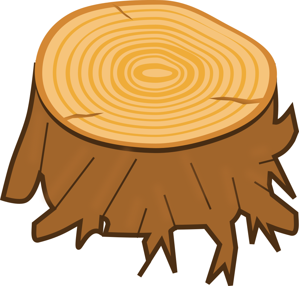 Brown tree trunk clipart transparent OnlineLabels Clip Art - Tree Stump transparent