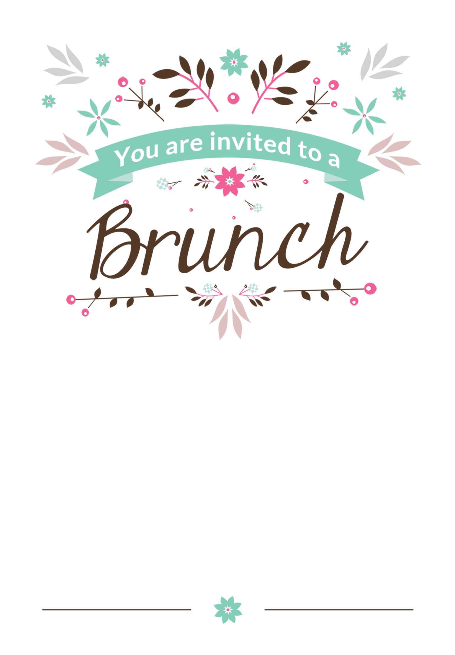 Brunch border clipart svg library library Flat Floral - Free Printable Brunch Invitation Template | Greetings ... svg library library