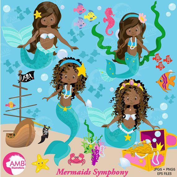 Brunette mermaid clipart svg royalty free download Mermaid clipart, African American Mermaids Clipart, dark skin ... svg royalty free download