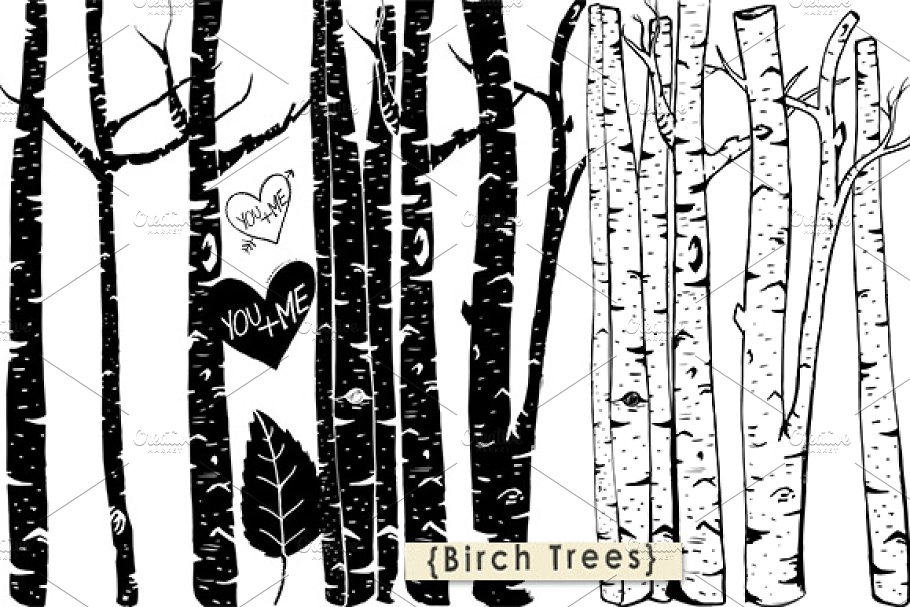 Brush clipart photoshop png black and white stock Birch Tree ClipArt + Photoshop Brush png black and white stock
