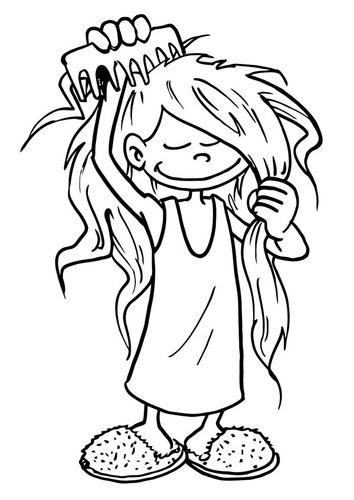 Brush hair clipart black and white free clip transparent Brushing Hair Cliparts   Free Download Clip Art   Free Clip Art ... clip transparent